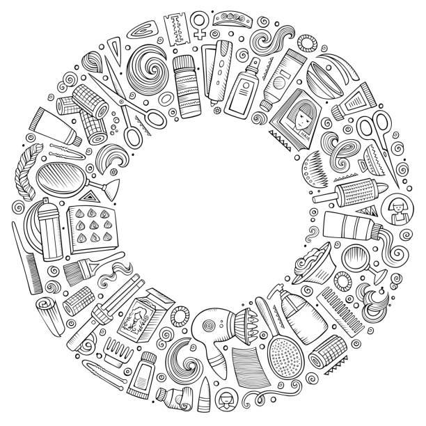 ヘアサロン漫画落書きオブジェクトのベクトルセット - 美容室 3d点のイラスト素材/クリップアート素材/マンガ素材/アイコン素材