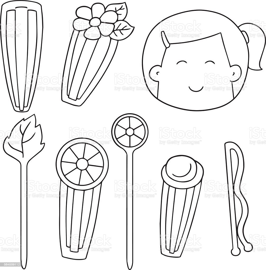 vector set of hairpin vector art illustration