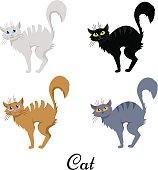 vector Set of Halloween cartoon hand drawn disheveled cat