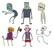 Vector Set of Halloween characters. Zombie, skeleton, mummy, Dracula and other scary monsters. Illustration, isolated on white background.