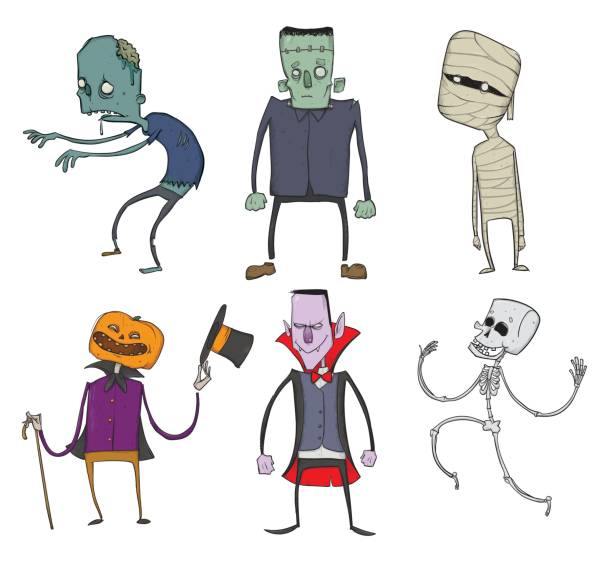 vector set of halloween characters. zombie, skeleton, mummy, dracula and other scary monsters. illustration, isolated on white background. - frankenstein stock illustrations