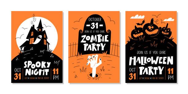 illustrazioni stock, clip art, cartoni animati e icone di tendenza di set vettoriale di inviti o biglietti d'auguri per feste di halloween con testo scritto a mano e simboli tradizionali. - halloween