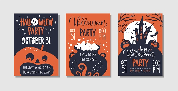 Vector set of Halloween party invitations or greeting cards with handwritten calligraphy and traditional symbols.