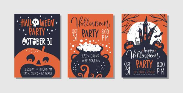 ilustrações de stock, clip art, desenhos animados e ícones de vector set of halloween party invitations or greeting cards with handwritten calligraphy and traditional symbols. - halloween