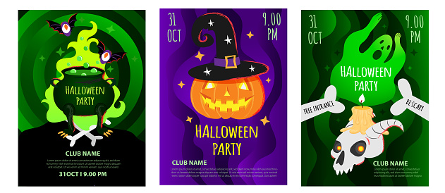 Vector set of Halloween party poster, flyer, invitation card, invite template