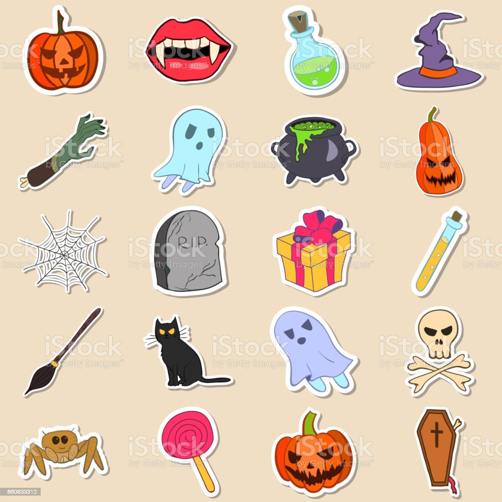 Vector set of Halloween stickers vector art illustration