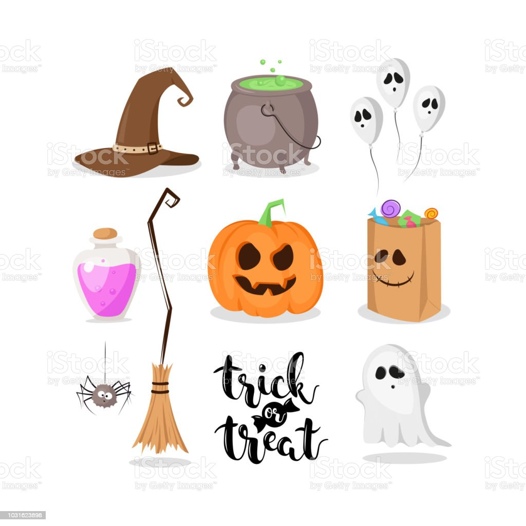 Vector Set Of Halloween Things Isolated On White Background Stock Illustration Download Image Now Istock