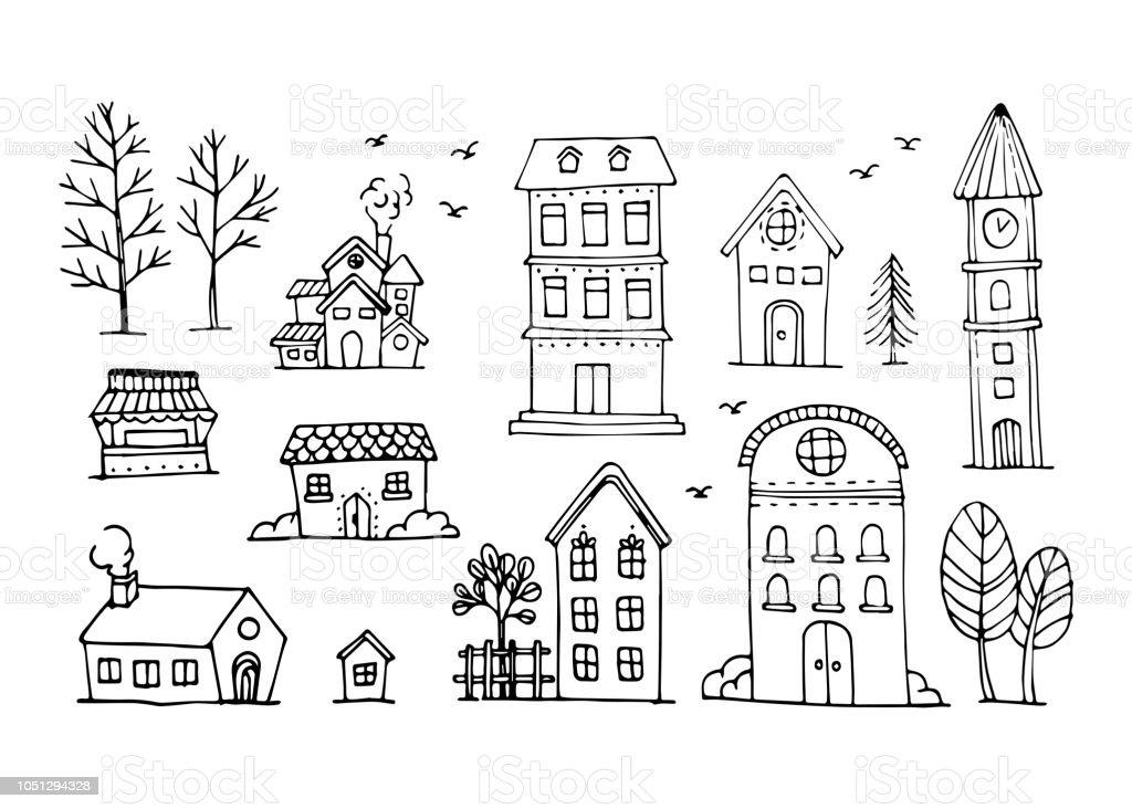 Vektorsatz Von Hand Zeichnen Haus Gebaude Stock Vektor Art Und Mehr