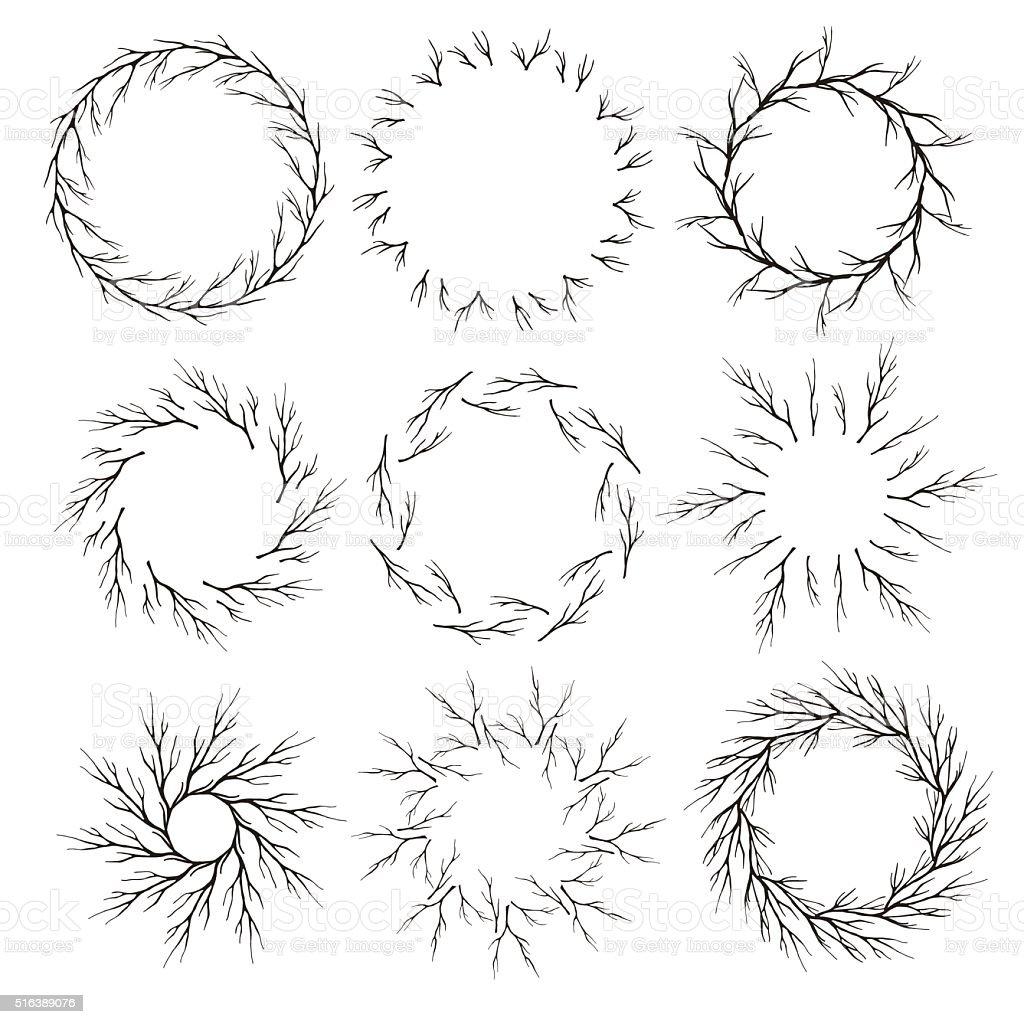 Vector set of hand drawn branch circle frames vector art illustration