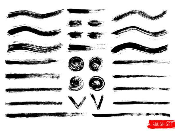 ilustrações, clipart, desenhos animados e ícones de conjunto de vetor de traçados de pincel mão desenhada, manchas, formas difíceis. doodle estilo grunge abstrata texturas. - longo