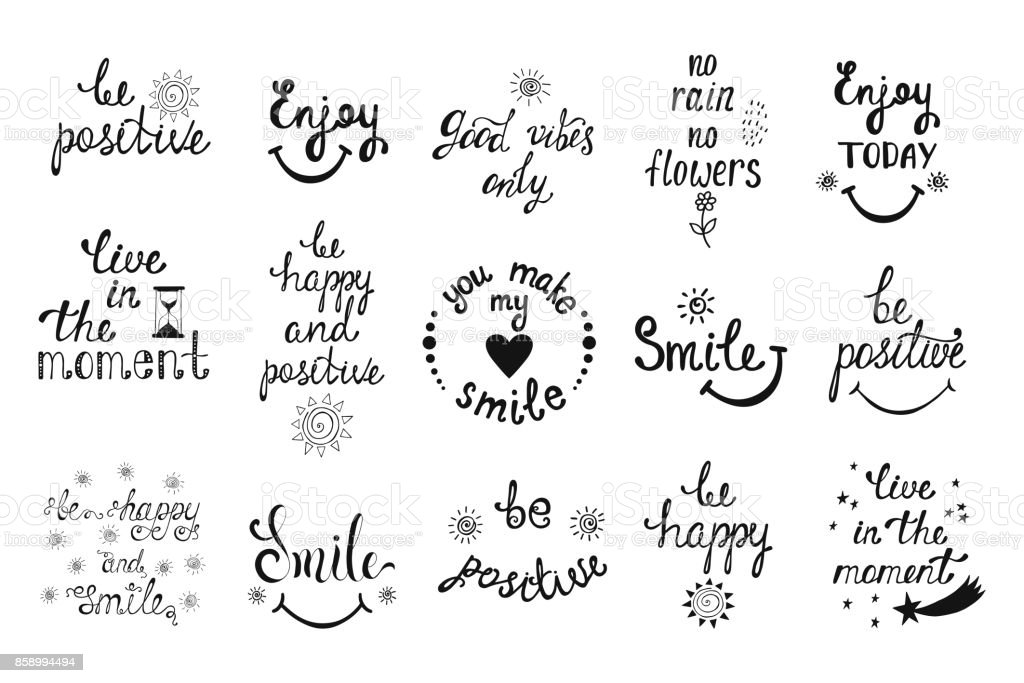 Vector set of hand drawn calligraphy phrases. Positive typography design. vector art illustration