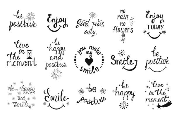 Vector set of hand drawn calligraphy phrases. Positive typography design. Vector set of hand drawn calligraphy phrases. Positive typography design. Motivation and inspiration quotes for postcards, greeting cards, prints, posters. aphorism stock illustrations