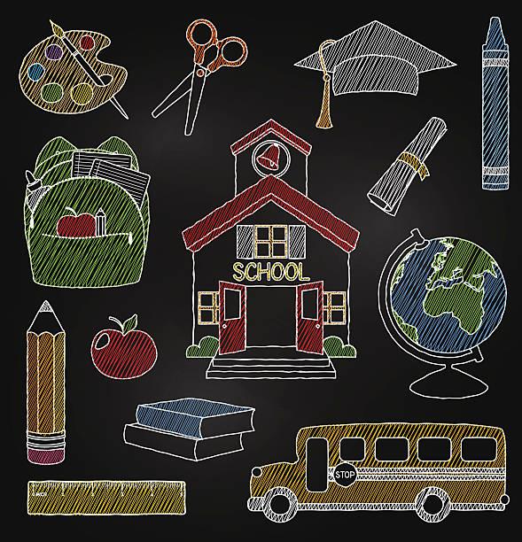 vektor-satz von hand gezeichnet tafel schule doodle-vektorgrafiken - hausfarbpaletten stock-grafiken, -clipart, -cartoons und -symbole
