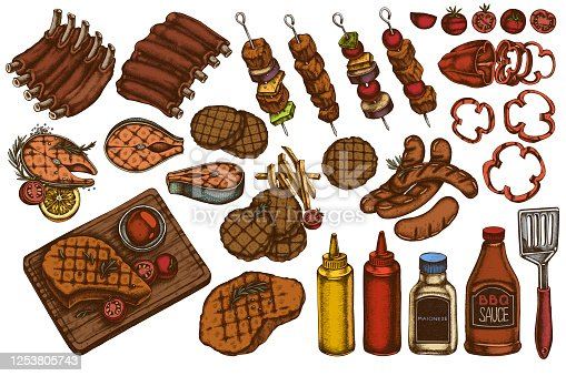 Vector set of hand drawn colored  spatula, Pork ribs, kebab, sausages, steak, sauce bottles, grilled burger patties, grilled tomato, grilled salmon steak, grilled bell pepper