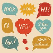 Vector set of hand drawn colorful comic speech bubbles with phrases Hi, Hello, I love you, Yes, Wow, Bye, Welcome, Ok