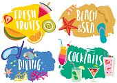 Vector set of hand drawn colorful  summer pictures with lettering.