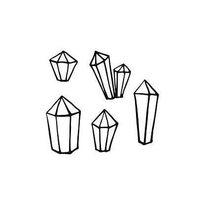Vector set of hand drawn crystals. Crystal thin line icons set