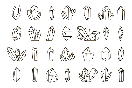 Vector set of hand drawn crystals.