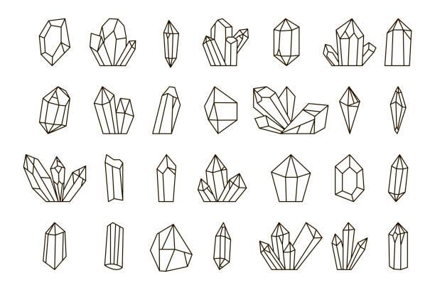 bildbanksillustrationer, clip art samt tecknat material och ikoner med vector uppsättning handritade kristaller. - kristall