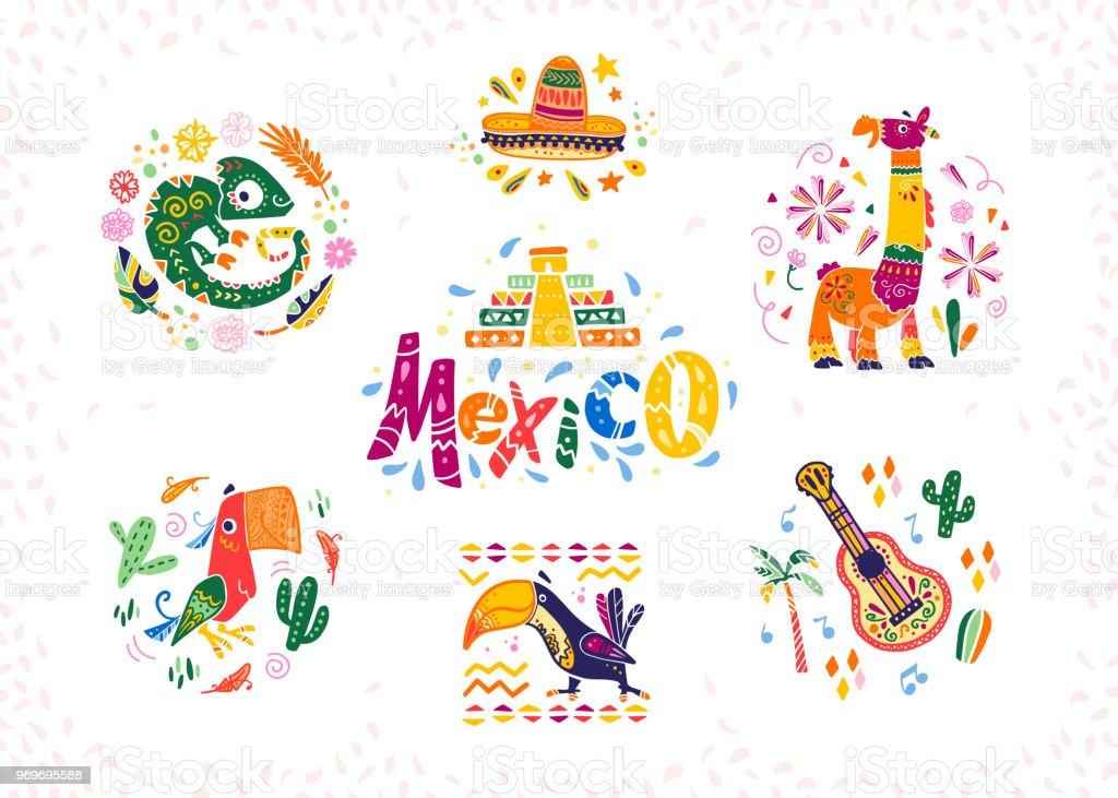 Conjunto de vector de arreglos decorativos hechos a mano con símbolos mexicanos tradicionales y elementos - ilustración de arte vectorial