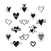 Vector set of hand drawn doodle cartoon hearts. Valentines day, love, wedding card design.