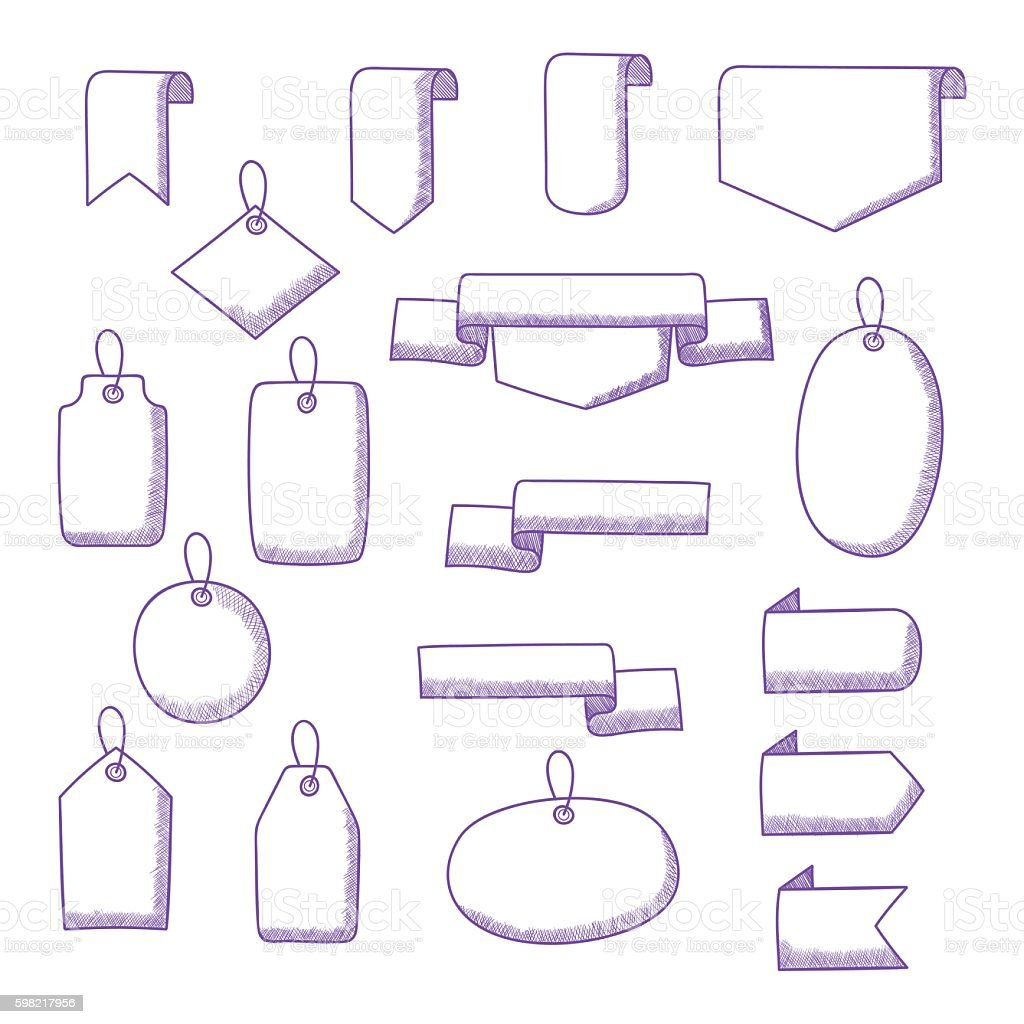 Vector Set of Hand Drawn Doodle Web Design Elements ilustração de vector set of hand drawn doodle web design elements e mais banco de imagens de antigo royalty-free