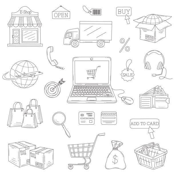 ilustrações de stock, clip art, desenhos animados e ícones de vector set of hand drawn e-commerce icons set - online shopping