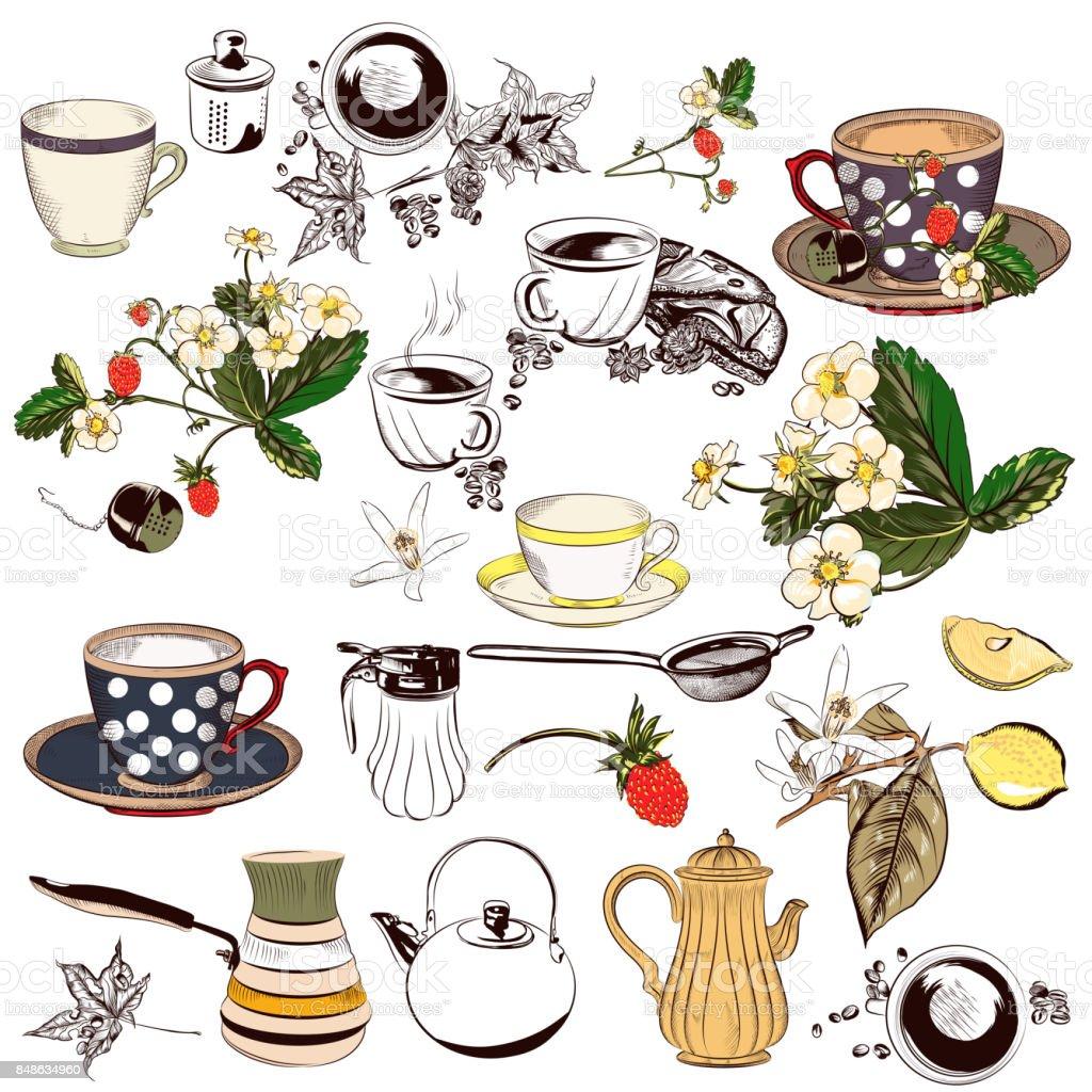 Conjunto de vector de mano alzada elementos tazas, teteras y otros de diseño retro - ilustración de arte vectorial