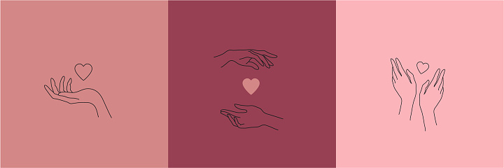 Vector set of hand drawn linear hands holding hearts, love romantic illustrations, modern logo design minimalist templates. Use for cosmetics, packaging, jewellery