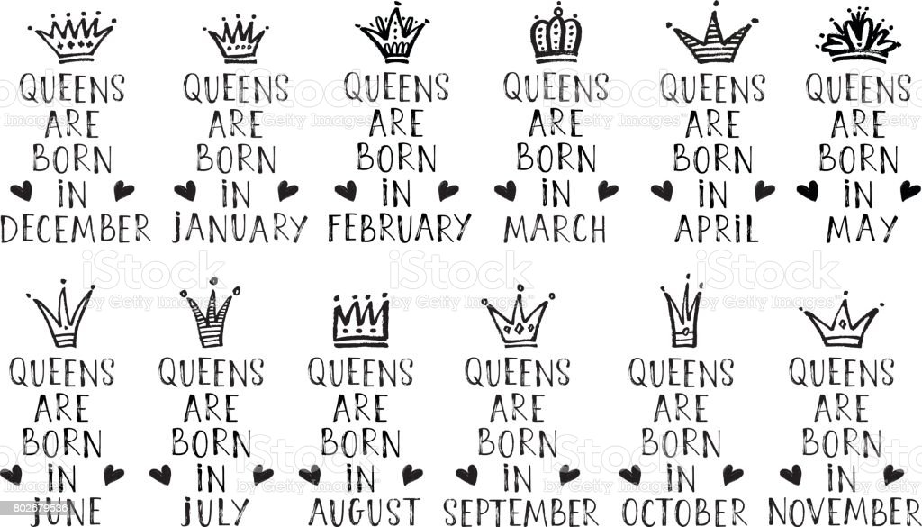 9b609b0a Vector set of hand drawn phrases Queens are born in with hand drawn crowns  - Illustration .