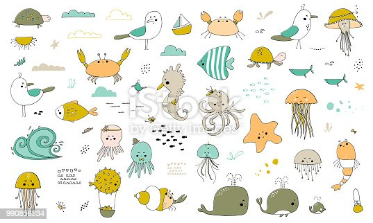 Vector set of hand drawn ocean creatures. Ocean marine world. For children fashion and stationery, nursery, scrapbooking, home decor and textile, surface design. Part of a sea animals collection.