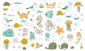Vector set of hand drawn sea creatures
