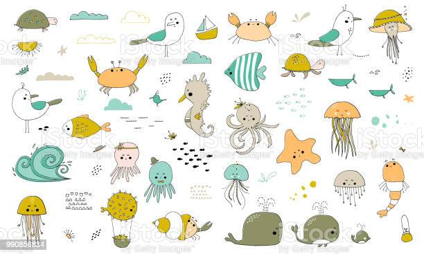 Vector set of hand drawn sea creatures vector id990856834?b=1&k=6&m=990856834&s=612x612&h=lx9gglxcwnovj7cl88 todemfthbvpkunpif58qcnxa=