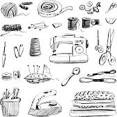 Vector set of hand drawn sewing and embroidery tools on white background