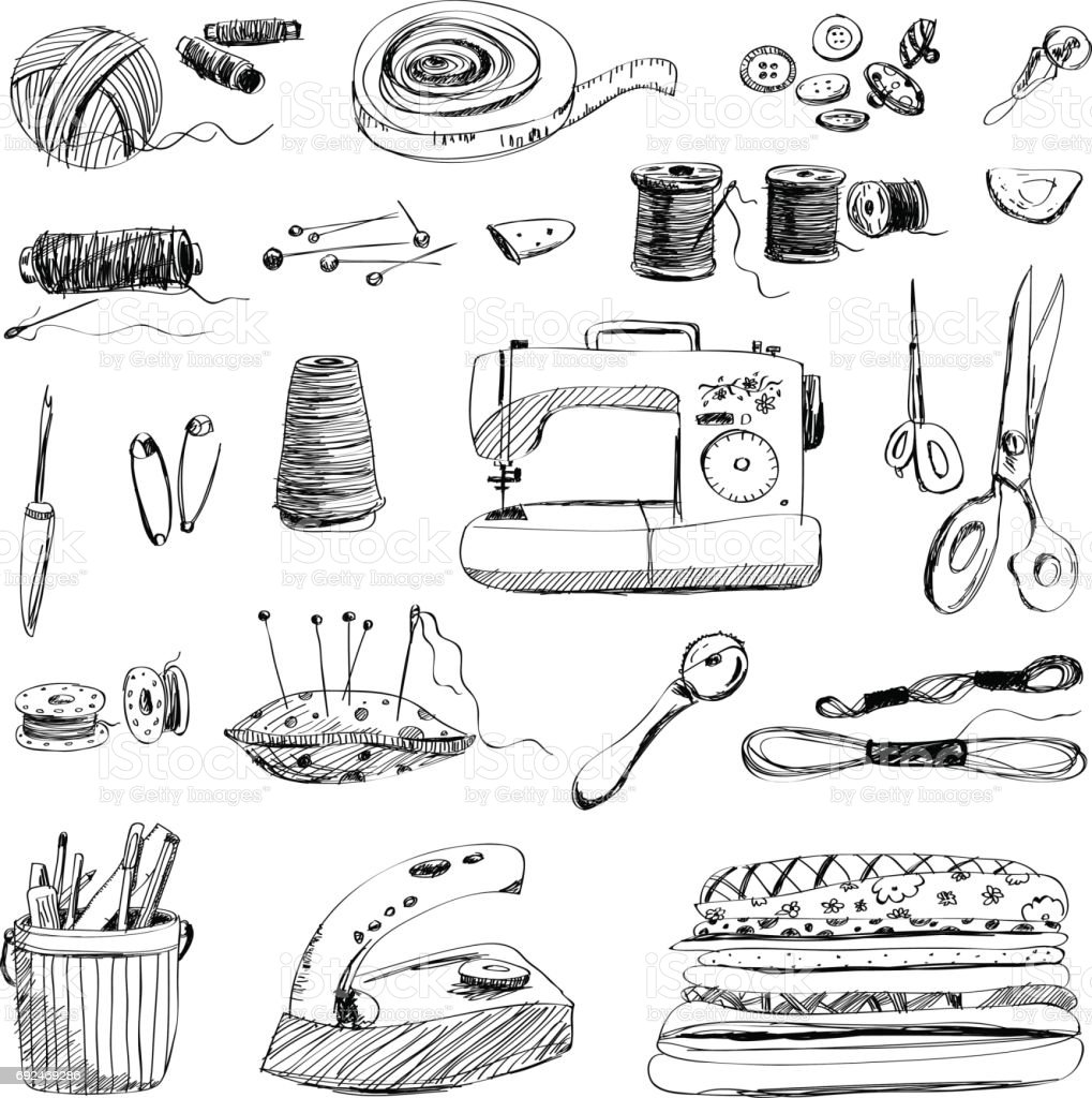 Vector set of hand drawn sewing and embroidery tools on white background vector art illustration