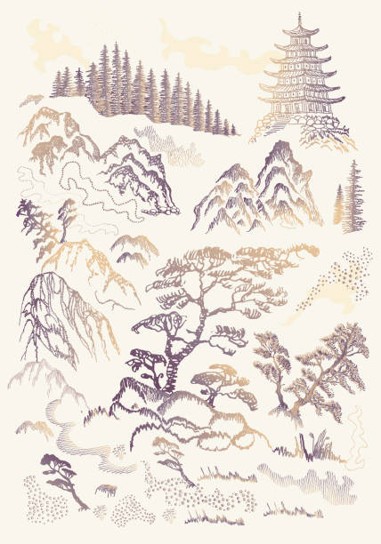 illustrazioni stock, clip art, cartoni animati e icone di tendenza di vector set of hand drawn sketches in japanese and chinese nature ink illustration sumi-e tradition. textured fir pine tree, pagoda temple, mountain, river, pond, grass, rock on a beige background - toile de jouy