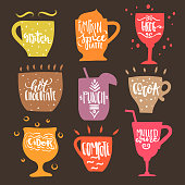 Vector set of hand drawn trendy cups with white lettering of hot drinks names on black background. For menu design, greeting cards, invitations, logotypes, posters.