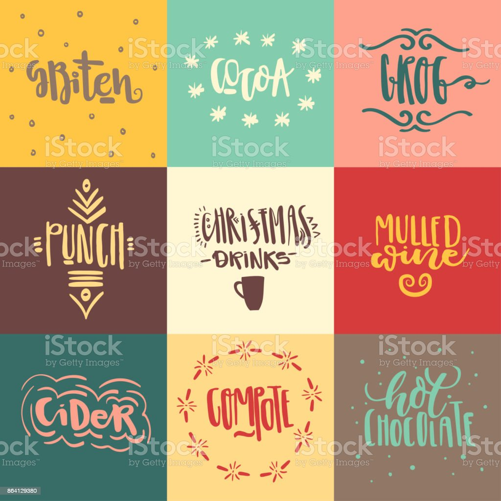 Vector set of hand drawn trendy lettering of christmas hot drinks. royalty-free vector set of hand drawn trendy lettering of christmas hot drinks stock vector art & more images of belarus