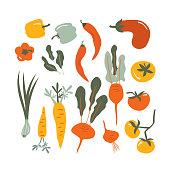 Food  vector set of Flat hand drawn vegetables background for Vegan, farm, eco design