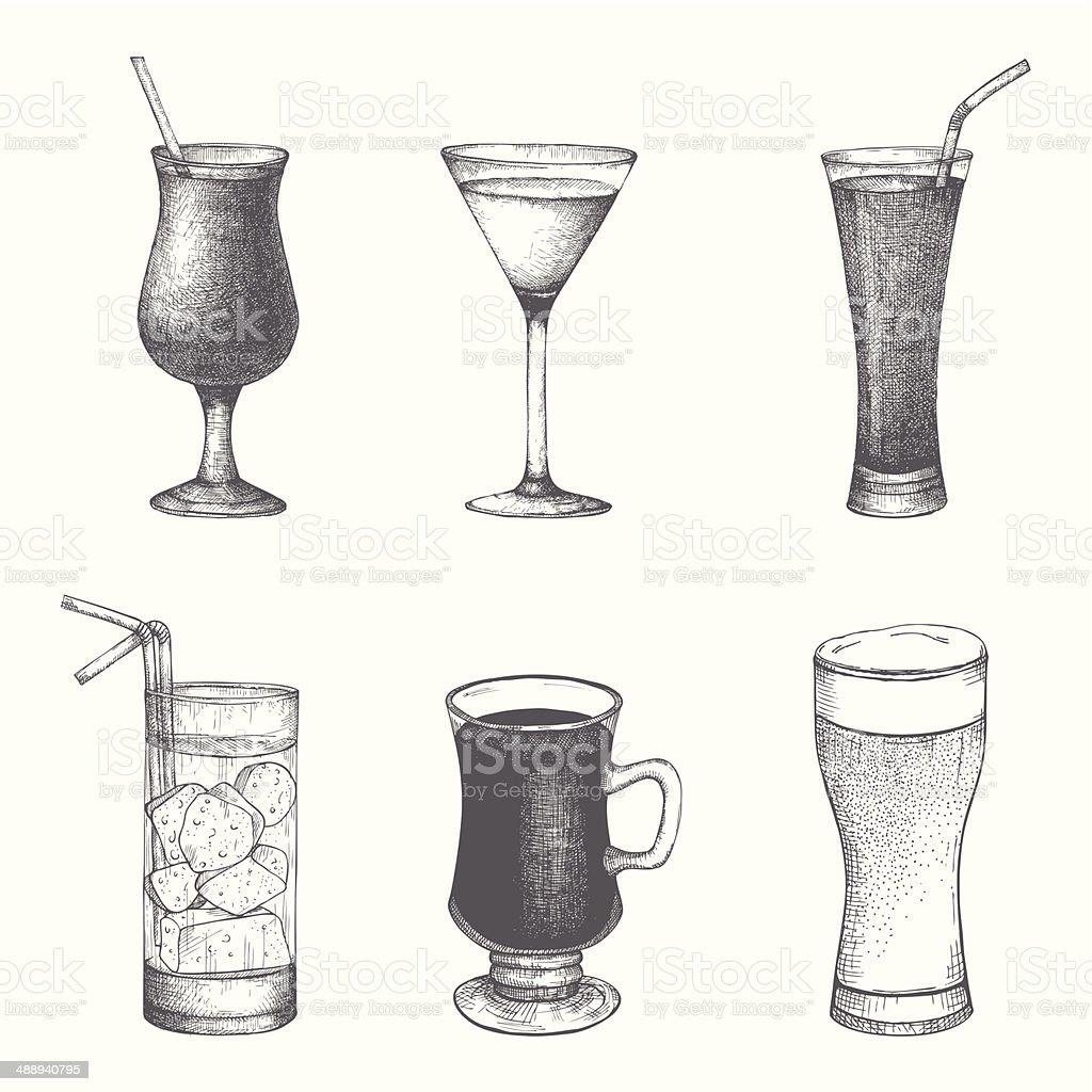 Vector Set Of Hand Drawn Vintage Cocktails And Drinks Stock