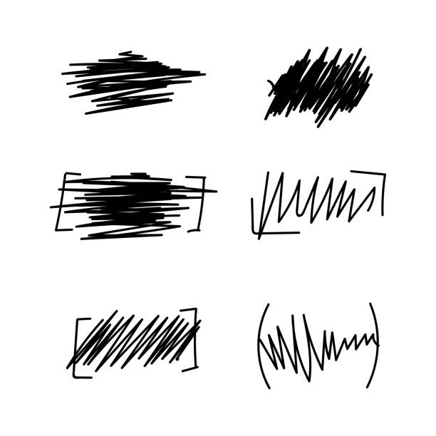 Vektor-Satz der handgezeichneten Wellenverzerrung. – Vektorgrafik