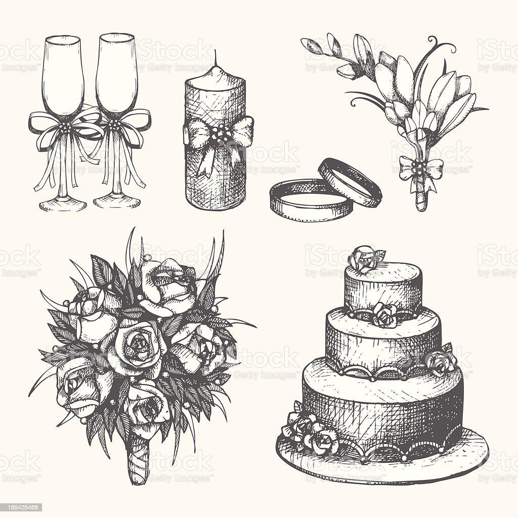 Vector set of hand drawn wedding elements vector art illustration