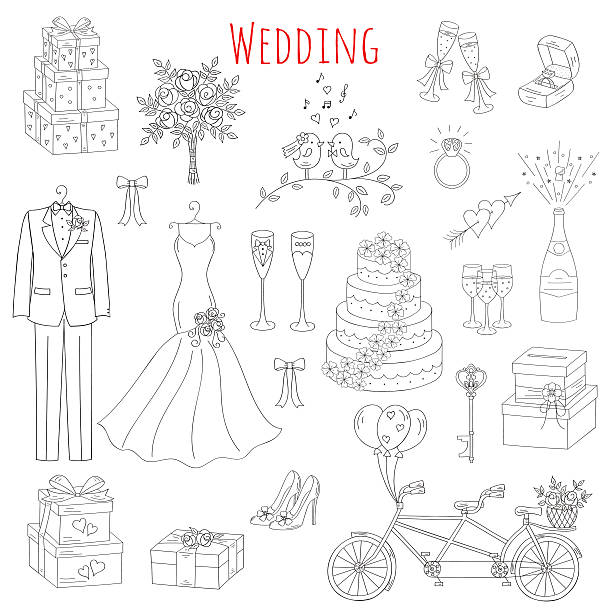 Vector set of hand drawn wedding icons Vector set of hand drawn wedding icons bride, dress, groom, wedding cake, bicycle, bouquet,champagne, ring, gift box, birdcage isolated doodle sketch illustrations. wedding cake stock illustrations