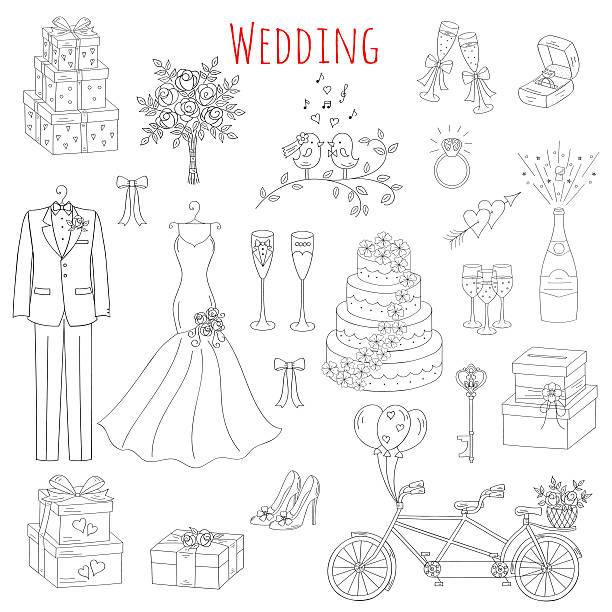 illustrations, cliparts, dessins animés et icônes de vector set of hand drawn wedding icons - dessin cage a oiseaux