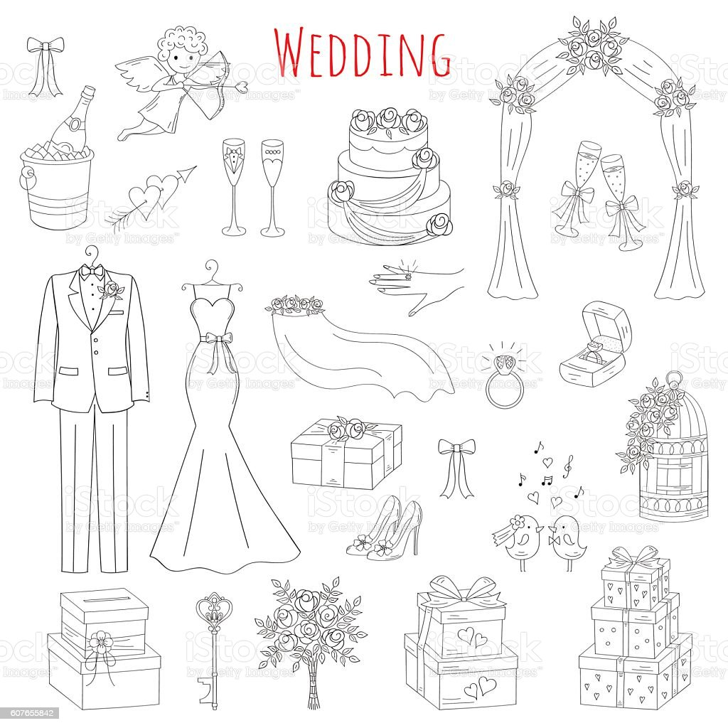 Vector set of hand drawn wedding icons stock vector art more vector set of hand drawn wedding icons royalty free vector set of hand drawn biocorpaavc Image collections