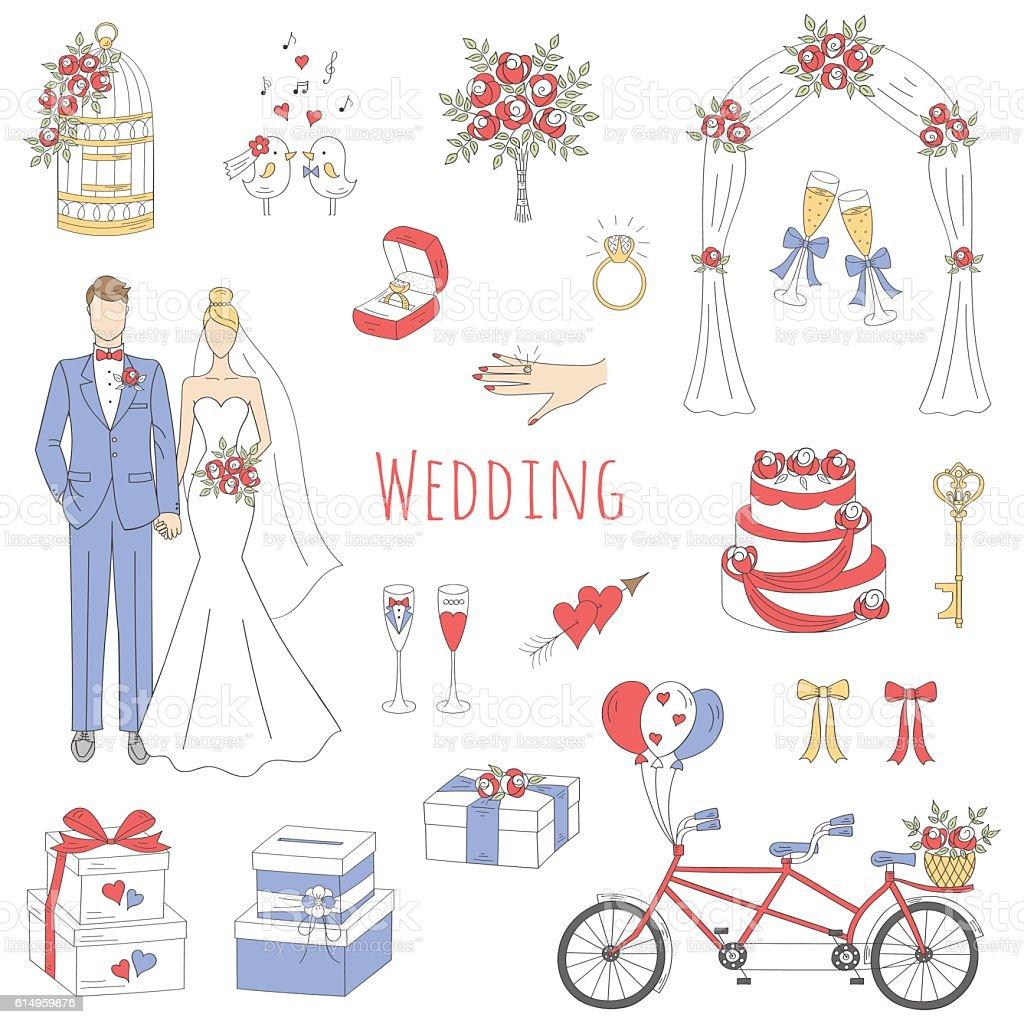 Vector set of hand drawn wedding icons. vector art illustration