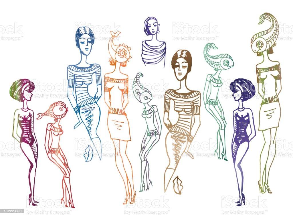Beyaz Bir Arka Plan üzerinde çizilmiş Kadın Siluetleri Izole El