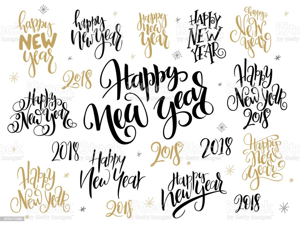 Vector set of hand lettering 2018 new year greetings phraseshappy vector set of hand lettering 2018 new year greetings phrases happy new year with m4hsunfo