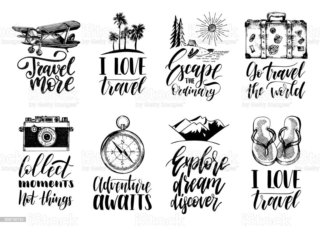 Vector set of hand lettering with phrases about traveling and sketches of touristic symbols. royalty-free vector set of hand lettering with phrases about traveling and sketches of touristic symbols stock illustration - download image now