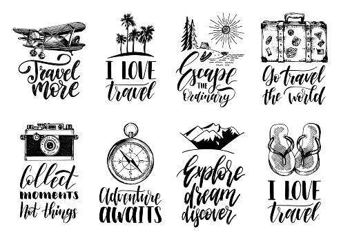 Vector set of hand lettering with phrases about traveling and sketches of touristic symbols.
